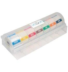 Set dag stickers 5 cm, oplosbaar, inclusief kunststof dispenser