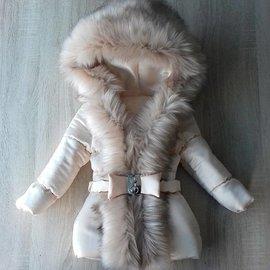 DAMES Creme winterjas met Grote bontkraag