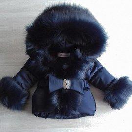 Winterjas Donkerblauw met grote bontkraag