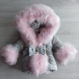 Winter jacket Panther print with large fur collar