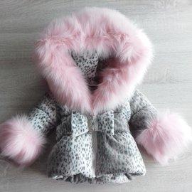 LADIES Panther print Winter coat Including fur collar