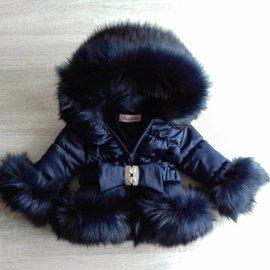 LADIES Dark blue Winter coat Including fur collar
