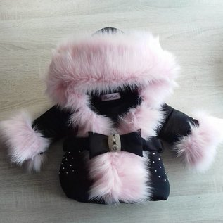 Zwarte winterjas Inclusief bontkraag Met steentjes en strik riem