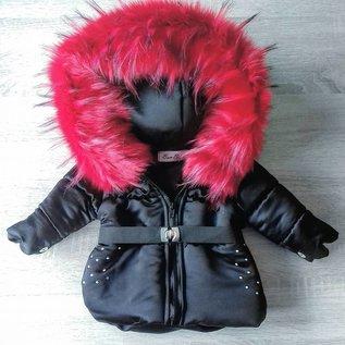 DAMES Zwarte winterjas Inclusief grote bontkraag met steentjes LOVE