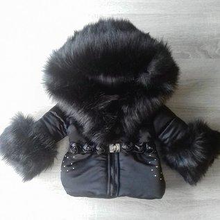 DAMES Zwarte winterjas Inclusief grote bontkraag met steentjes RO1