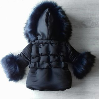 DAMES Zwarte winterjas Inclusief grote bontkraag met steentjes