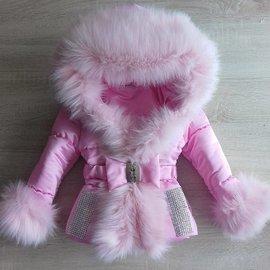 Roze winterjas Inclusief bontkraag  Glitter Queen