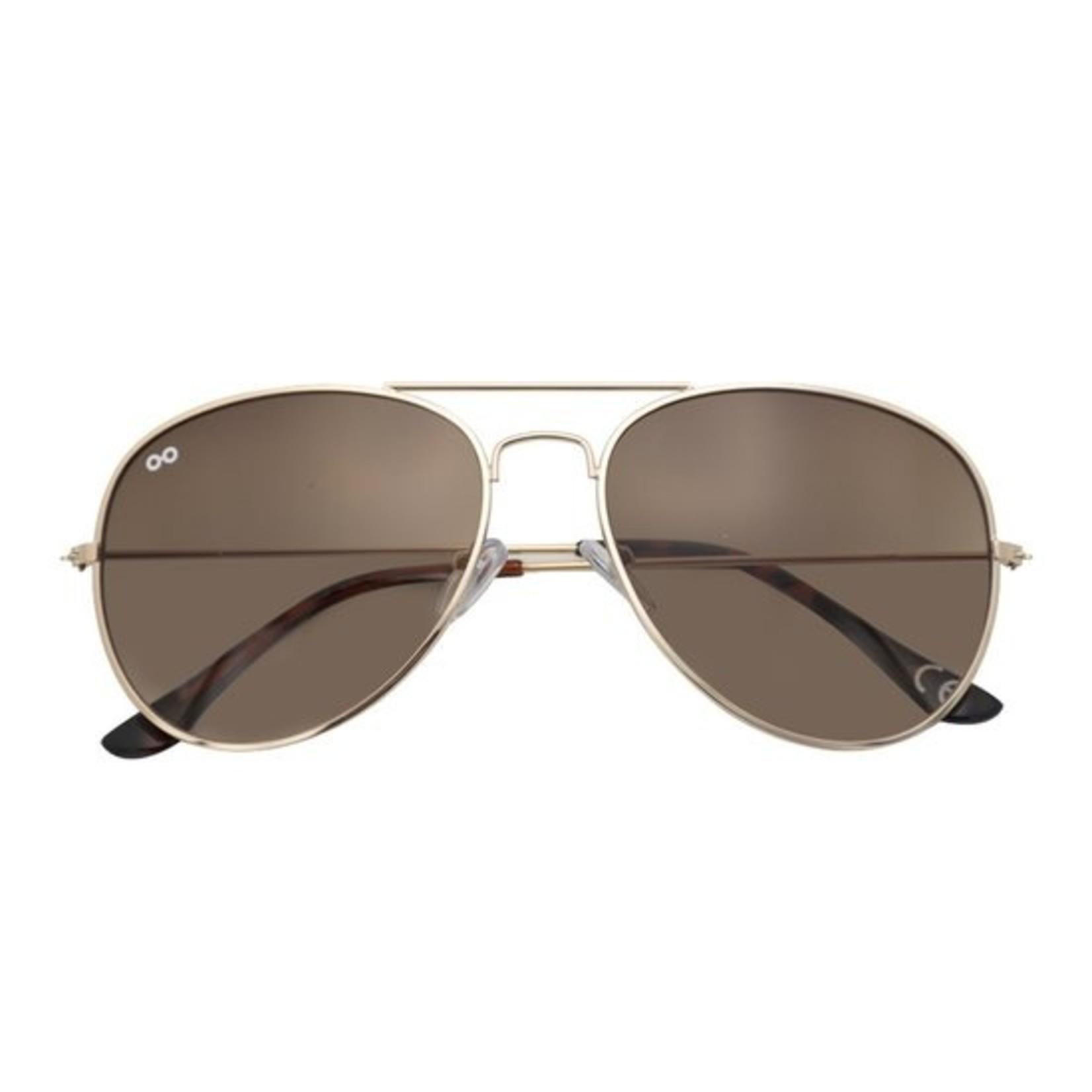 Croon Scott Shiny Gold/Brown zonnebril pilotenbril