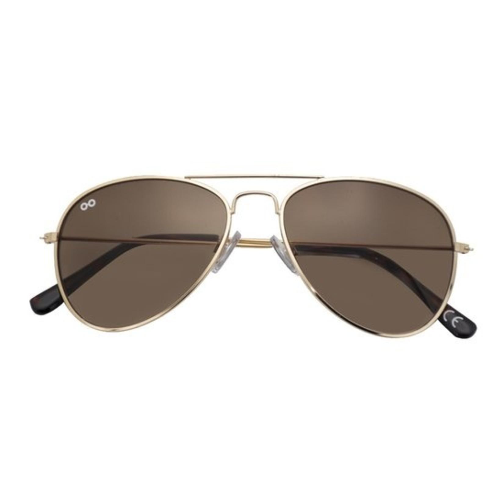 Croon Ann Satin Gold/Brown zonnebril pilotenbril