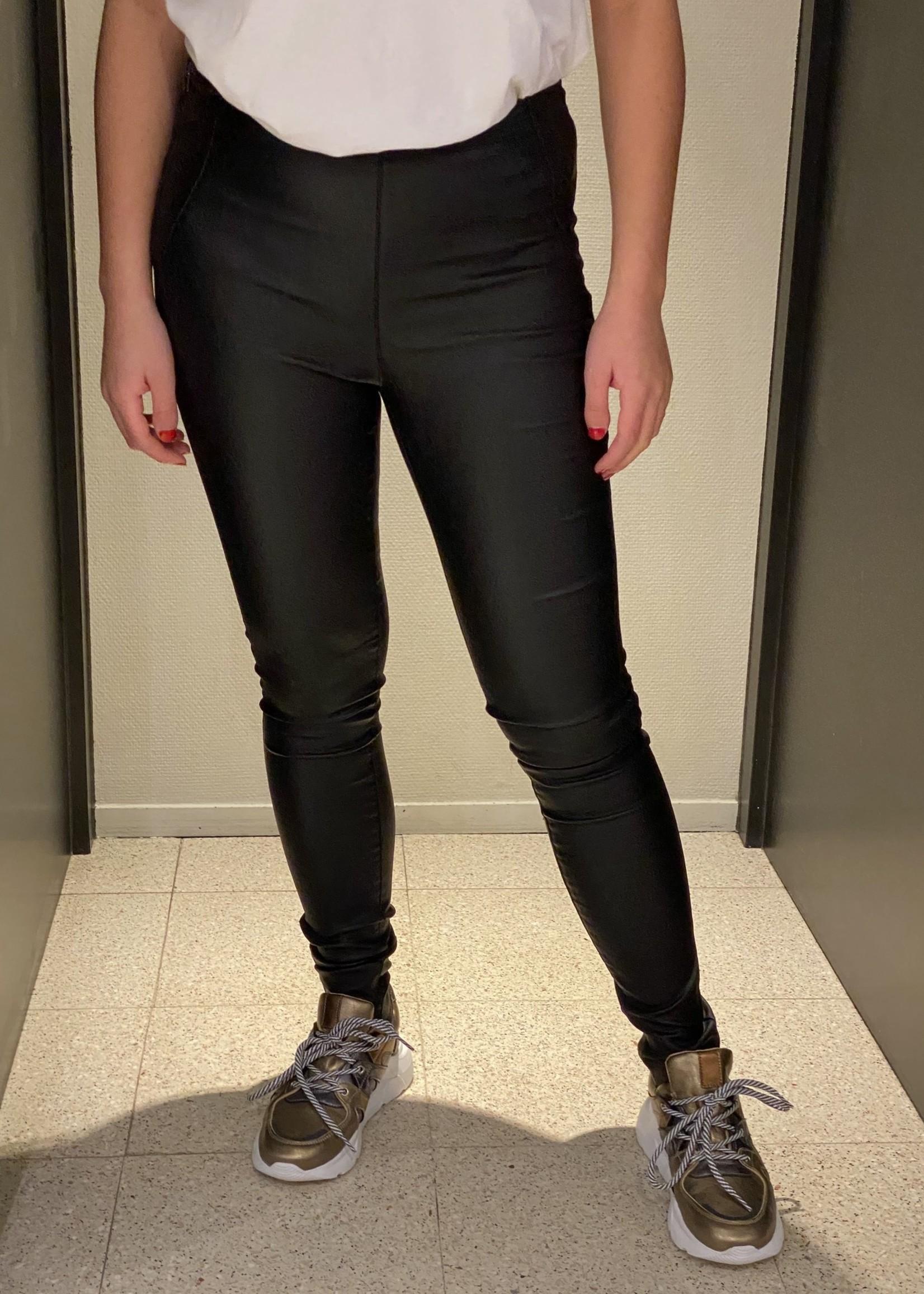 OBJECT Zwarte leer look stretch legging van OBJECT