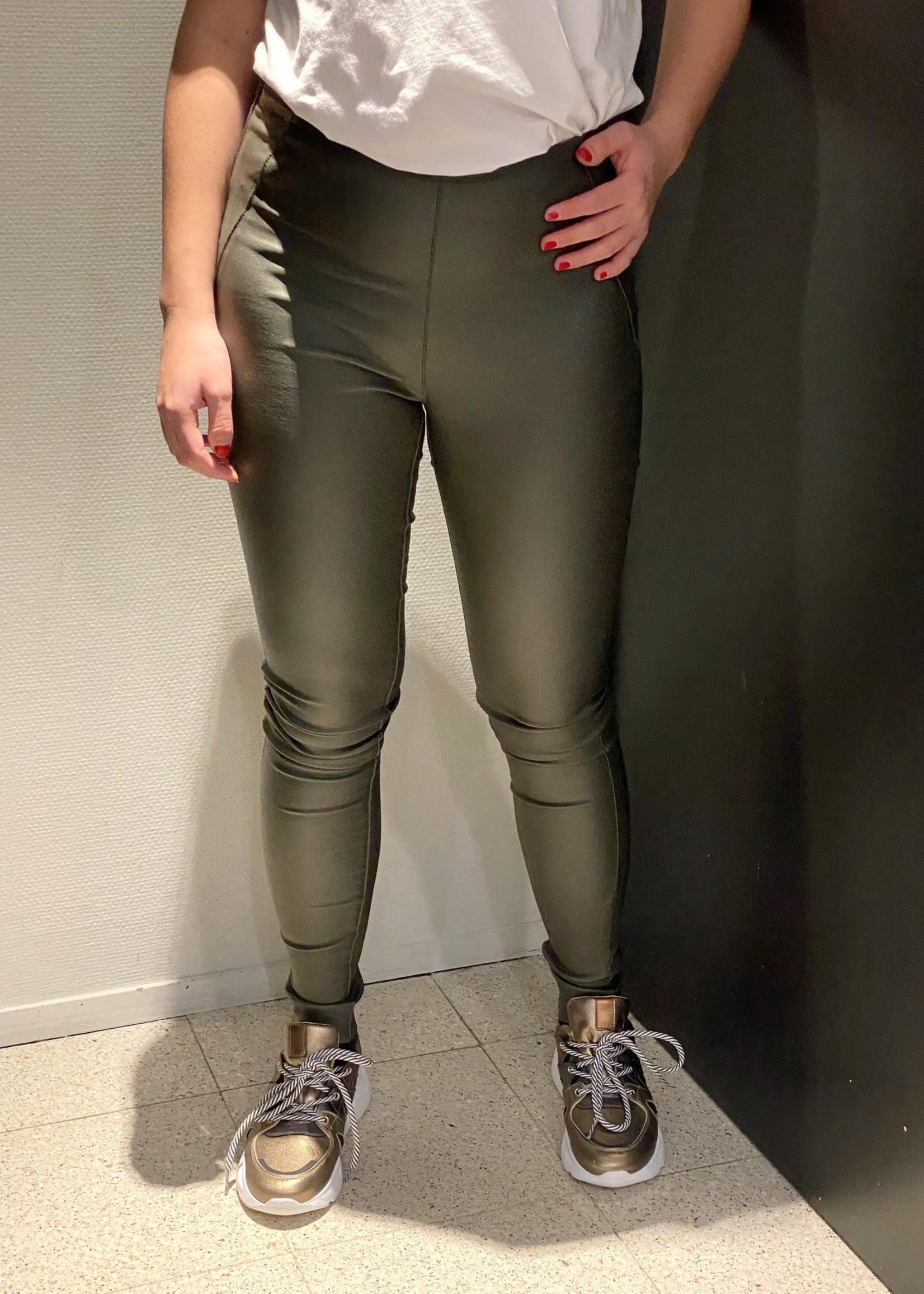 OBJECT Groene leer look stretch legging van OBJECT