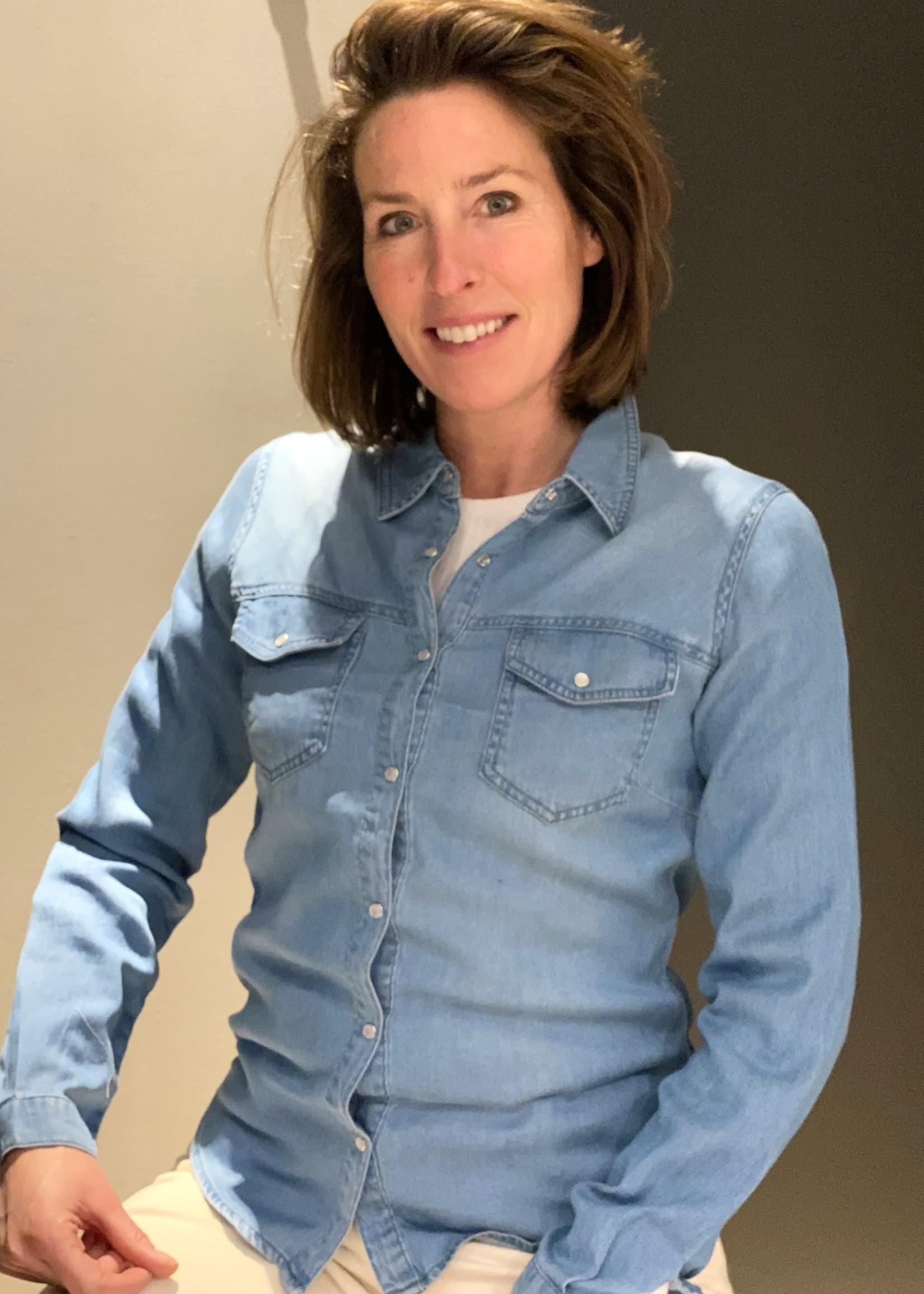 VILA Zachte jeans bloes in medium blauw VILA