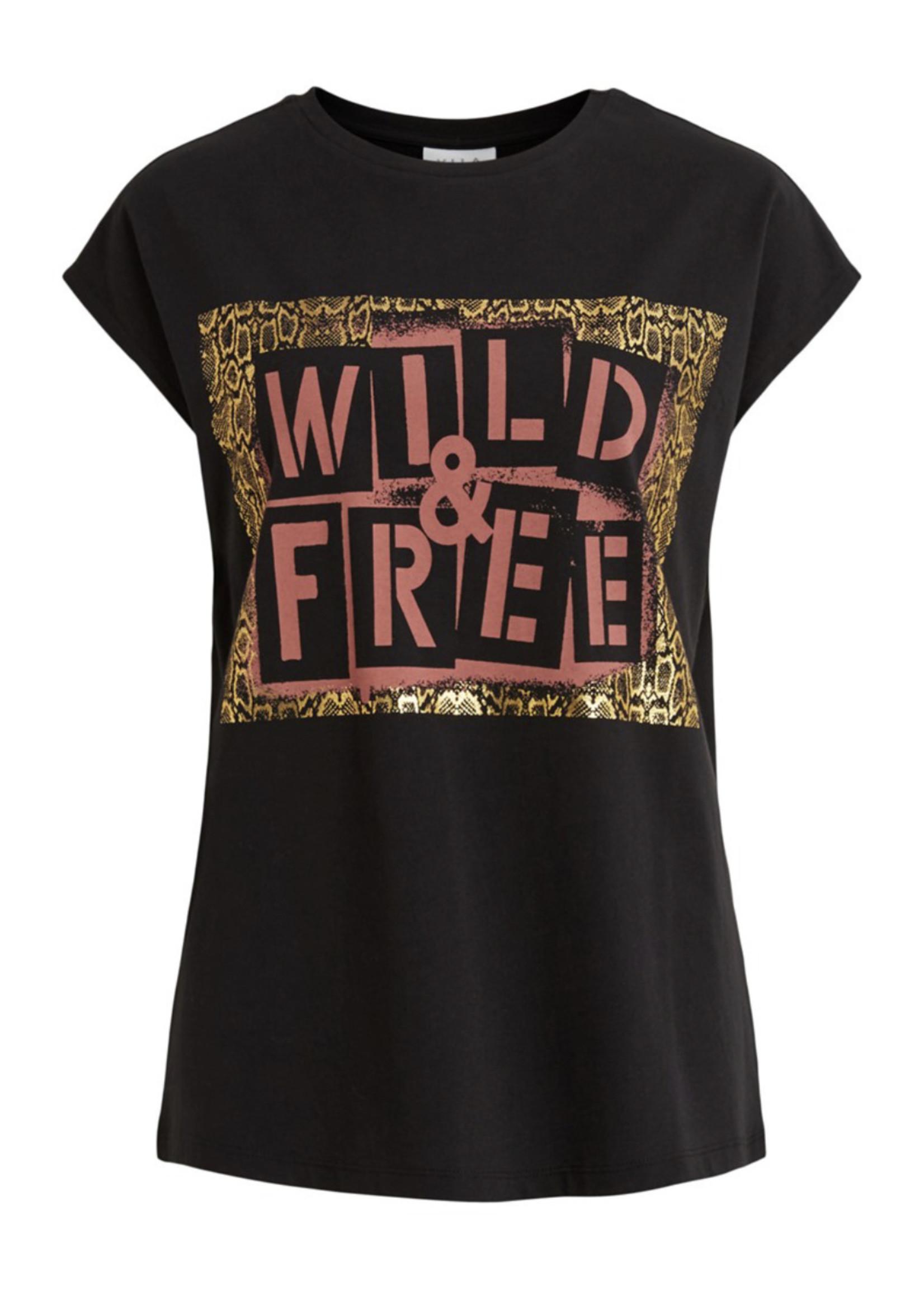 VILA T-shirt met opdruk in zwart VILA