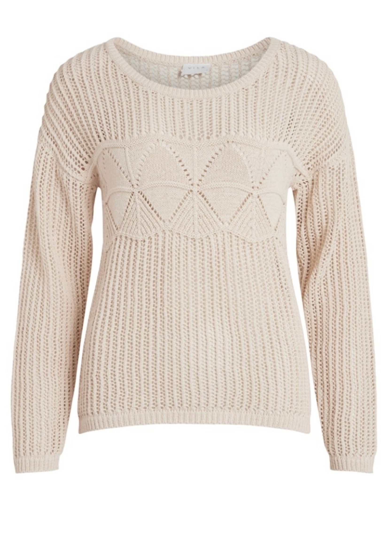 VILA VILELAS L/S O-NECK PATTERN KNIT TOP Birch