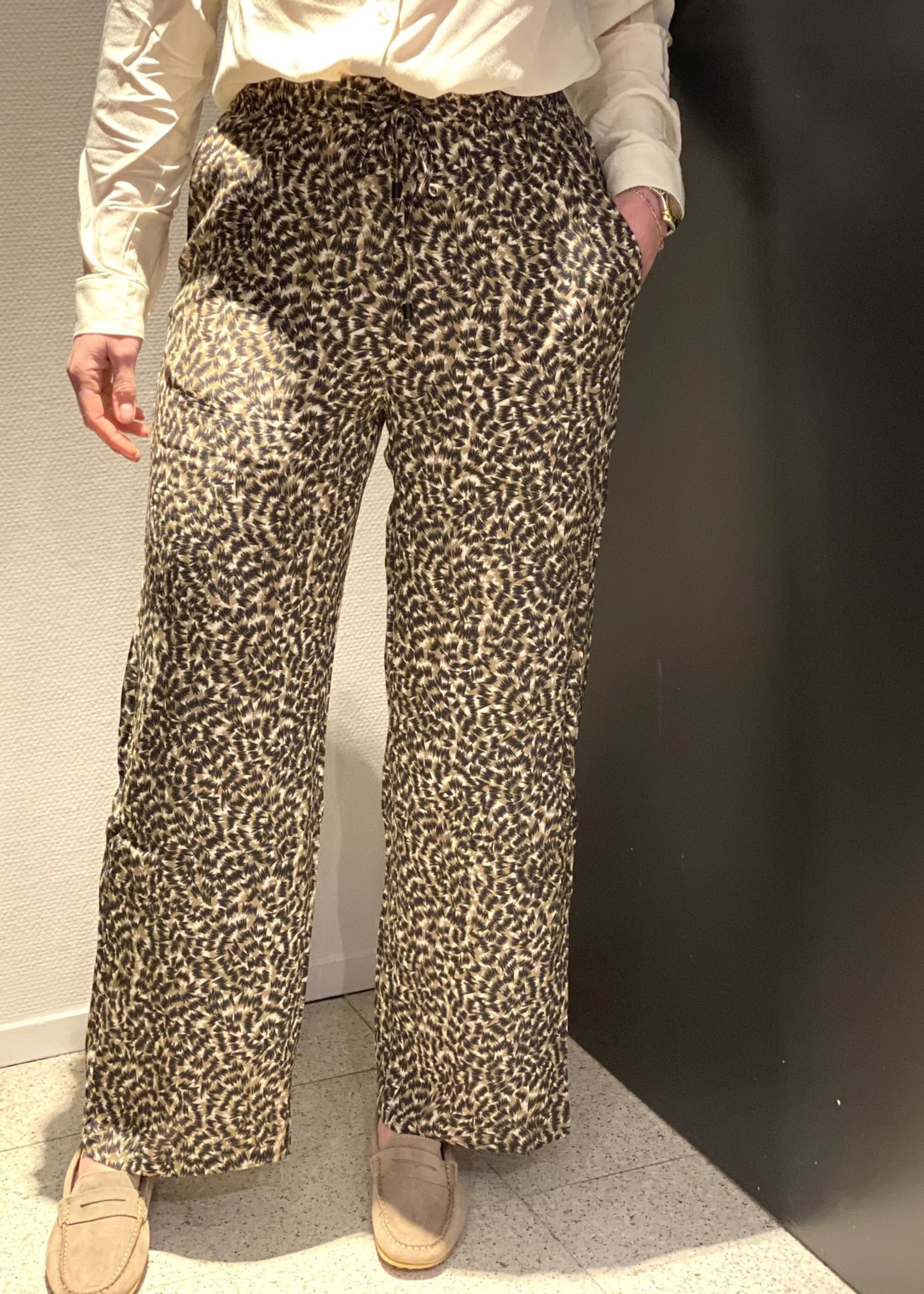 ONLY ONLANNEMONE LONG PALAZZO PANT WVN Pumice Stone
