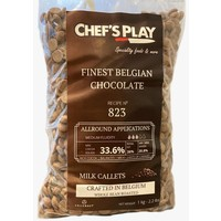Belgium 1 Kg Callets of 823. Standard semi sweet dark chocolate. Basic viscosity. Cocoa min 33.6 %