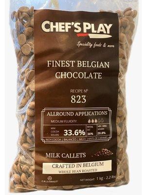 CALLEBAUT  Belgium 1 Kg Callets of 823. Standard semi sweet dark chocolate. Basic viscosity. Cocoa min 33.6 %