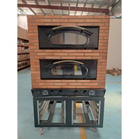 2- Deck Brick Effect Housing Electric Stacked Pizza Oven with Stand FR4011-43 S