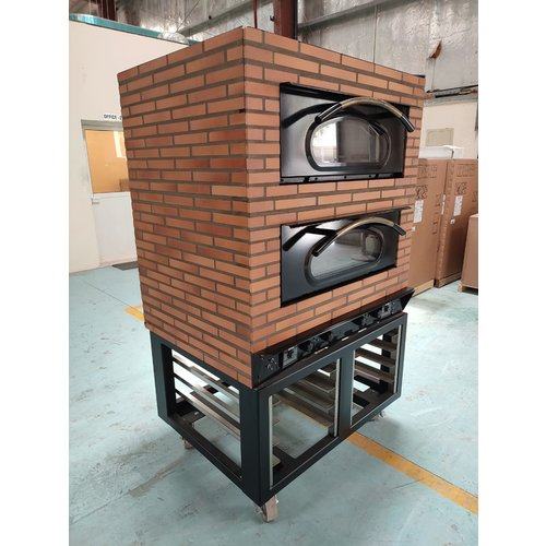 MORICE 2- Deck Brick Effect Housing  Electric Stacked Pizza Oven with Stand FR4011-43 S