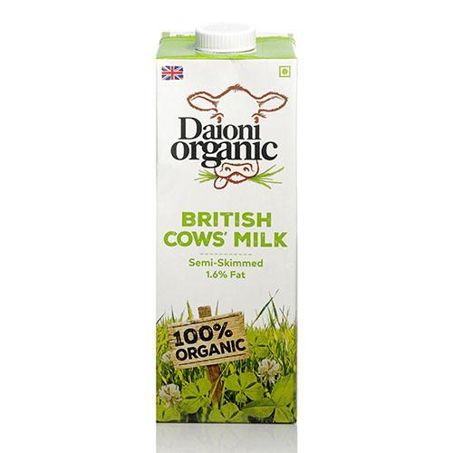DAIONI ORGANIC Organic Semi-Skimmed UHT Milk 1 Ltr-1 Case(12 Pack x 1 Ltr.)