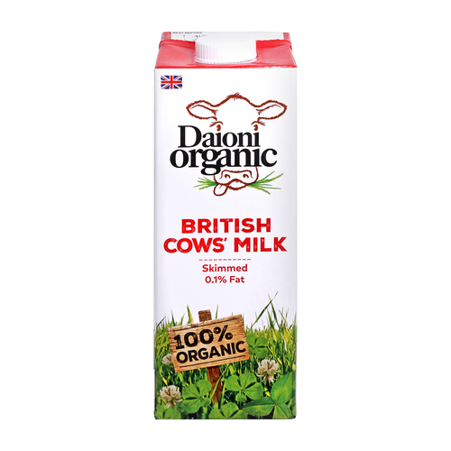 DAIONI ORGANIC Organic Skimmed UHT Milk 1 Ltr-1 Case(12 Pack x 1 Ltr.)