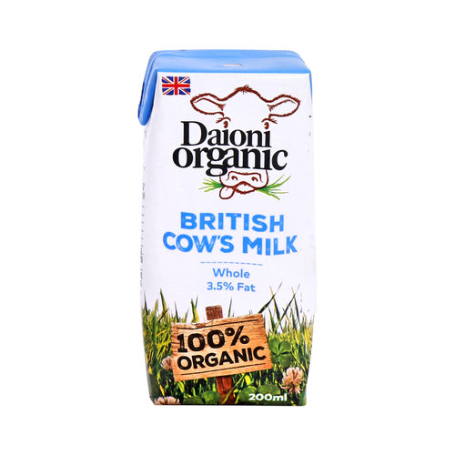DAIONI ORGANIC Organic Whole UHT Milk 200 ml-1 Case(18 Pack*200 ml)