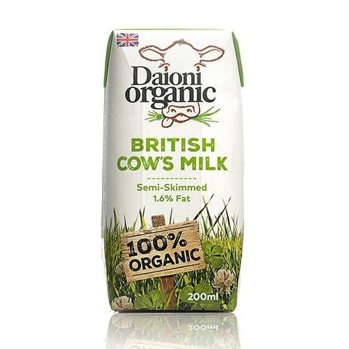 DAIONI ORGANIC Organic Semi-Skimmed UHT Milk 200 ml-1 Case(18 Pack*200 ml)