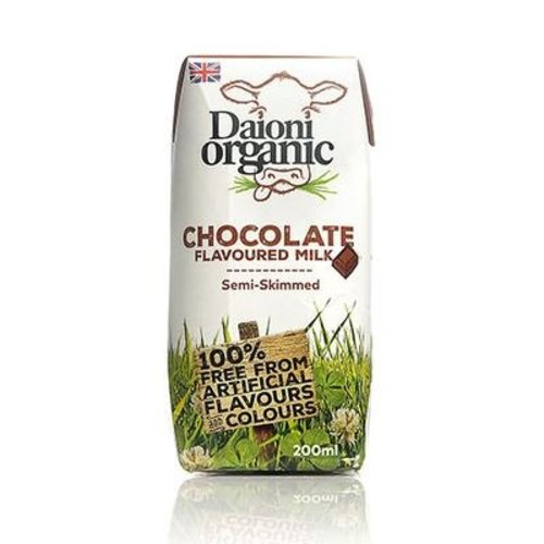 DAIONI ORGANIC Organic Chocolate UHT Milk 200 ml-1 Case (18 Pack x 200 ml)