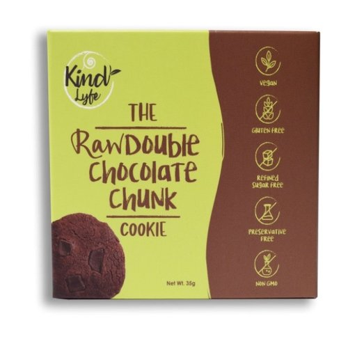 KINDLYFE THE RAW DOUBLE CHOCOLATE CHUNK COOKIE 35G-1 Case (10 Pack x 35 gm)