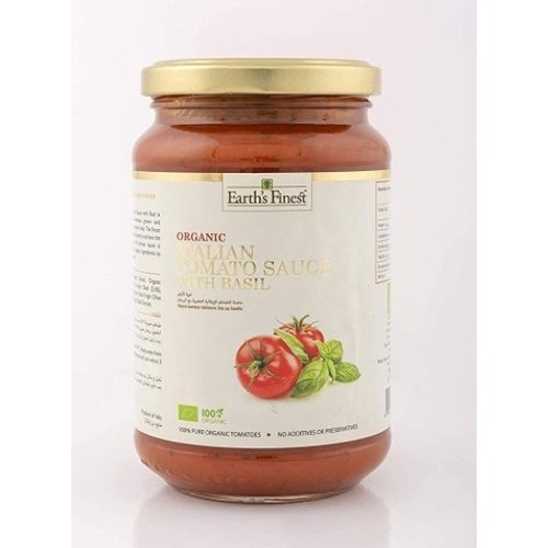 EARTH'S FINEST Organic Italian Tomato Sauce With Basil-340 g-1 Case (6 Pack x 340 g)