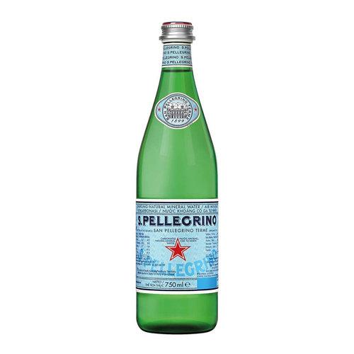 SAN PELLEGRINO Sparkling Natural Mineral Water Glass-1 Case(12 Bottles x 750 ml)