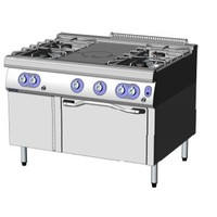 BIA9FPF12FG - 2 Open Burners + Solid Top + 2 Open Burners on Gas Oven