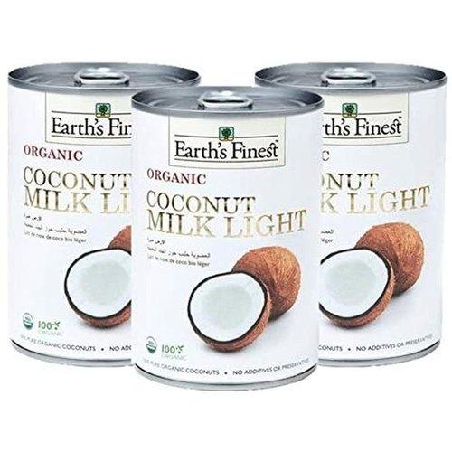 EARTH'S FINEST Organic Coconut Milk Light (1 Case of 12 Packs) 400 ml