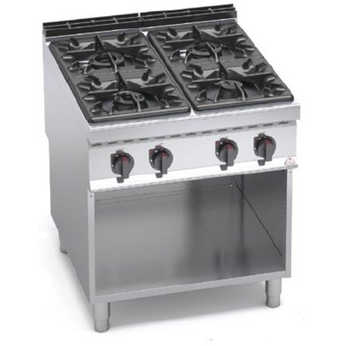 BERTO'S G9F4M - 4-Burner Gas Cooker with Open Base Cabinet