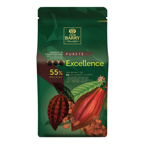 CACAO BARRY Dark Chocolate 55%, EXCELLENCE - 5kg Coins (France)
