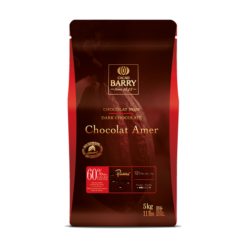CACAO BARRY Dark Chocolate 60%, AMER - 5kg Coins (France)