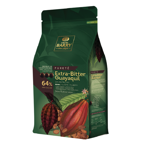 CACAO BARRY Dark Chocolate 64%, GUAYAQUIL - 5kg Coins (France)