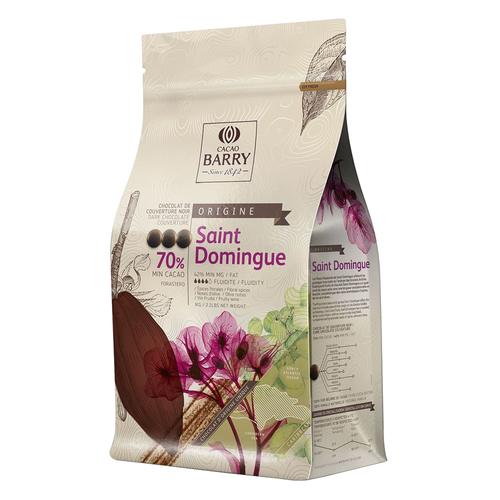 CACAO BARRY Dark Chocolate 70%, ST DOMINGUE - 2.5kg Coins (France)
