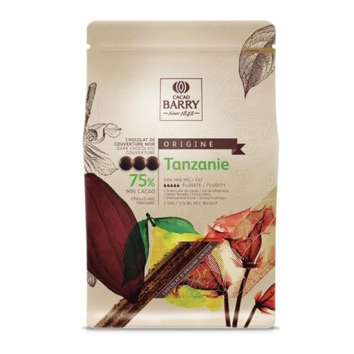 CACAO BARRY Dark Chocolate 75%, TANZANIE - 2.5kg Coins (France)