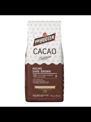 VAN HOUTEN 100% Cocoa Highly Defatted Powder ROUND DARK BROWN - 750gr Bag (Sweden)