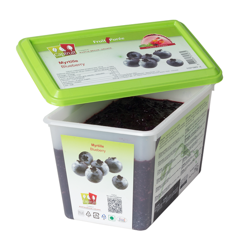 CAPFRUIT Frozen Fruit Puree BLUEBERRY no added sugar - 1kg Tub (France)