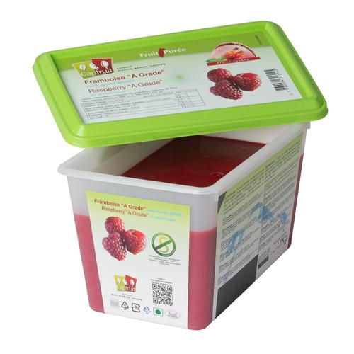 CAPFRUIT Frozen Fruit Puree RASPBERRY no added sugar - 1kg Tub (France)