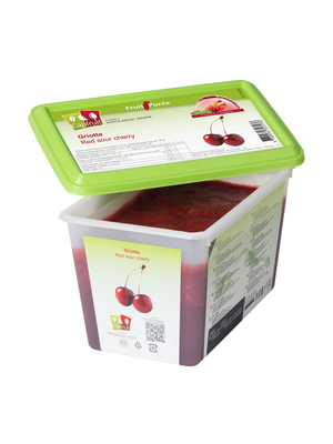 CAPFRUIT Frozen Fruit Puree RED SOUR CHERRY (GRIOTTE) 10% added sugar - 1kg Tub (France)