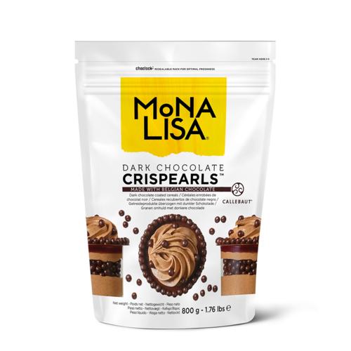 MONA LISA Crispy Cereals Coated with Dark Chocolate (70%) CRISPEARLS DARK - 800gr Bag (Belgium)