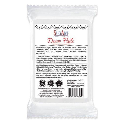 SUGART Decor Paste sugar paste WHITE - 1kg Pack (Greece)