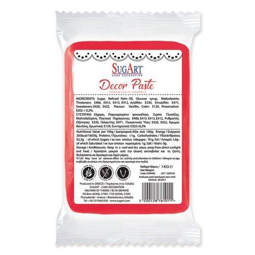 SUGART Decor Paste sugar paste RED - 1kg Pack (Greece)