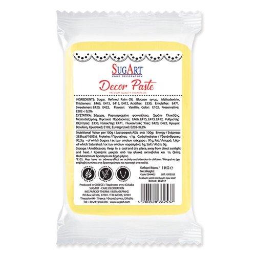 SUGART Decor Paste sugar paste YELLOW - 1kg Pack  (Greece)
