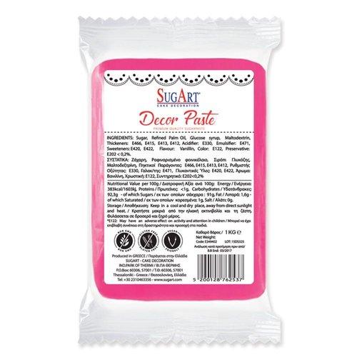 SUGART Decor Paste sugar paste FUCHSIA PINK - 1kg Pack  (Greece)