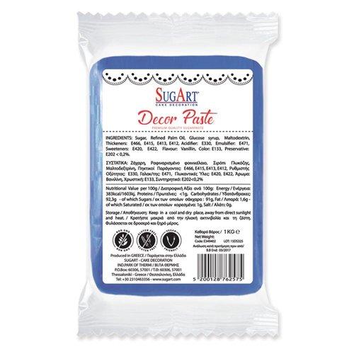 SUGART Decor Paste sugar paste BLUE - 1kg Pack (Greece)