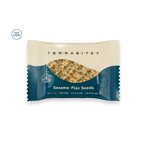 TERRABITES Sesame Flax Seeds - Gluten & Lactose Free - Pack of 10 x 30g Squares (Greece)